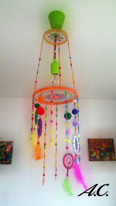 "Lustre capteur de rêves "" loulous "" Indian Arts And Crafts, Shri Ganesh, Jack Skellington, Dream Catcher, Cafe Decoration, Diys, Diy Crafts, Beads, Mobiles"