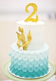 Ombre mermaid cake: fish scale pattern and gold glitter seaweed and number silhouette