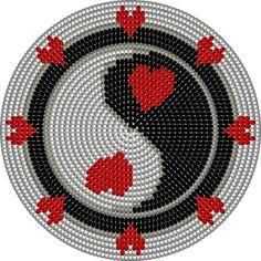 mochila wayuu bodem yin yang hart Tapestry Crochet Patterns, Crochet Mandala, Crochet Clutch, Crochet Purses, Beaded Embroidery, Cross Stitch Embroidery, Mochila Crochet, Tiny Cross Stitch, Beaded Boxes