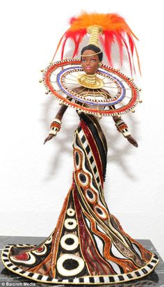 1999 Fantasy Goddess of Africa™ Barbie® Doll designed by Bob Mackie 'Barbie Man' Stanley Colorite Owns Barbie & Ken Dolls (click through to see him with his collection! A Florida man has revealed he spends a year working on his Barbie doll collection. African Dolls, African American Dolls, African American Beauty, African Beauty, Bob Mackie, Ooak Dolls, Art Dolls, Diva Dolls, Beautiful Barbie Dolls