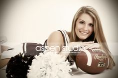 cheer picture (or senior picture) - switch football for basketball - for senior picture also add softball Photography Senior Pictures, Girl Senior Pictures, Poses For Pictures, Dance Pictures, Senior Photos, Dance Pics, Cheerleading Senior Pictures, Cheer Team Pictures, Cheer Picture Poses