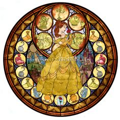 Princess Belle - Kingdom Hearts Stain Glass by reginaac57.deviantart.com