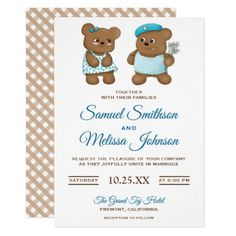 Cute Romantic Teddy Bear Couple Wedding Invitation - romantic wedding gifts wedding anniversary marriage party