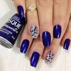 I absolutely looooove their navy blue polish by bisque manicure nail art Cute Nail Art Designs, Nail Polish Designs, Sparkly Nails, Blue Nails, Hair And Nails, My Nails, Nail Art Stamping Plates, Nail Envy, Creative Nails