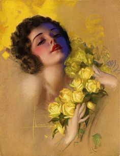 RAREST Vintage Rolf Armstrong Pin Up Print 1935 Romance and Roses Flapper Girl | eBay