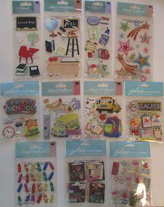 Jolee's Boutique Scrapbooking Stickers Lot  SCHOOL Bus Desk Backpack Supplies #JoleesBoutique #ScrapbookEmbellishments