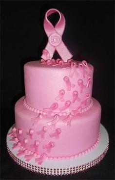 Pink Ribbon Breast Cancer Cake // #PinkOut for October - #BreastCancerAwarenessMonth