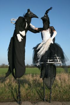 Magpie Characters - Stilt Walkers cool circus , street performers