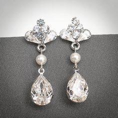 CECILIA, sposa Swarovski Orecchini, Vintage ispirato a goccia con strass orecchini lampadario, orecchini di nozze, gioielli nuziali d