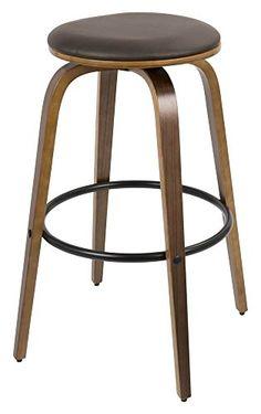 mid century modern stools. Midcentury Modern WOYBR BS-PRT WL+BN2 Wood, Pu Leather, Metal Porto Mid Century Stools N