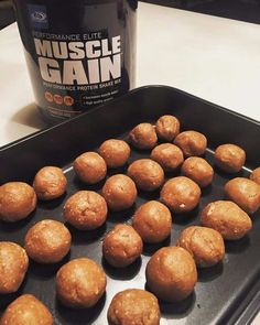 AdvoCare Muscle Gain Energy Protein Balls are a DELICIOUS snack!  1 cup cashews + 1 cup oatmeal (blend to powder). Mix together. Add 1C peanut butter, 1/2C honey, and 4 scoops of AdvoCare Muscle Gain. Roll into balls and refrigerate or freeze. Each energy ball: 90 calories / 7G protein / 8G carbs / 5G fat. www.halletthealth.com