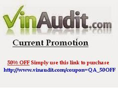 VinAudit Coupons, Coupon. Get vehicle report 50% off the price