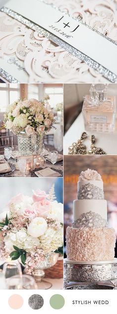 elegant blush and silver wedding ideas with matched wedding invites