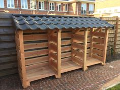 Holzlager … – Wood Design – Oh, les rues de France! Outdoor Firewood Rack, Firewood Shed, Firewood Storage, Log Shed, Bike Shed, Wood Storage Sheds, Garden Tool Storage, Pallet Shed, Wood Store