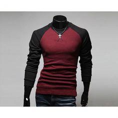 New Mens Fashion Round Neck Raglan Long Sleeve T-shirt