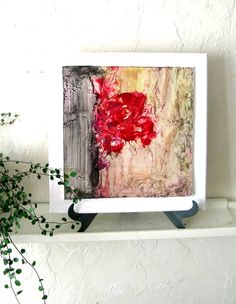 Modern Home Decor Abstract Art for Wall Desk Easel by StudioSabine, $85.00