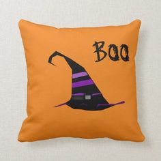 Cute Scary Halloween Witch Hat And Boo Orange Throw Pillow firefighter jewelry, kids firefighter, gift for a firefighter Scary Witch, Halloween Witch Hat, Halloween Home Decor, Halloween Games, Halloween Snacks, Halloween House, Scary Halloween, Halloween Crafts, Halloween Decorations