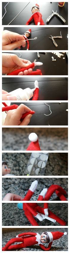 photo tutorial for hacking the elf on the shelf to make it able to pose.