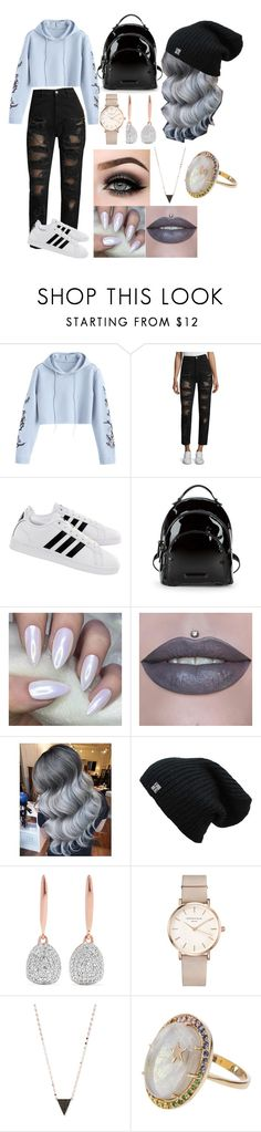 """Grey babe"" by babsicle ❤ liked on Polyvore featuring Tommy Hilfiger, adidas, Kendall + Kylie, ASAP, Monica Vinader, ROSEFIELD, Lana, Andrea Fohrman and Hoodies"