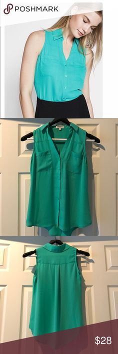 Sleeveless portofino shirt NWOT Chic Express sleeveless portofino shirt. Light green color. Smooth fabric. Dress it with a blazer, cardigan or by itself. NWOT Express Tops
