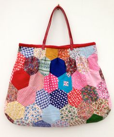 Paper Pieced Patchwork Velvet Lined Tote by didyoumakeityourself, £50.00