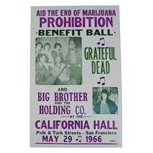 This poster commemorates a joint performance given by two of the most important bands of the San Francisco counterculture of the '60's: Big Brother and the Holding Company and The Grateful Dead. $7.00