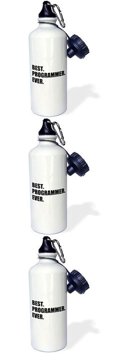 3dRose wb_185015_1 Best Programmer Ever, Fun Gift for Talented Computer Programming, Text Sports Water Bottle, 21 oz, White