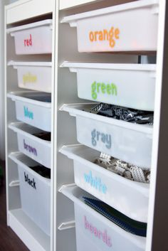 Store toys or blocks by color. | 42 Storage Ideas That Will Organize Your Entire House
