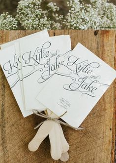 programs on sticks for outdoor wedding fan for guests
