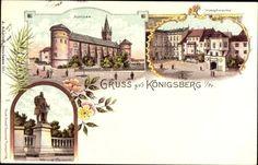 Litho Königsberg, Schloss, Hauptwache, Denkmal