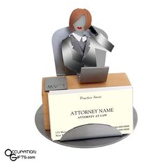 Our Female Attorney Business Card Holder is the perfect gift for any lawyer in your circle of family or friends. The unique style of this fine crafted work is a nice addition to any female lawyer's home or office.