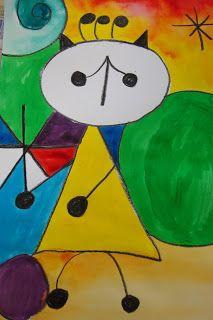 Joan Miró in Ink or watercolours- Grade 2 First Grade Art, Art History Lessons, Artist Project, Ecole Art, Kindergarten Art, Art Lessons Elementary, Art Lesson Plans, Art Classroom, Art Plastique
