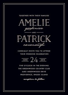 'Inline Chic' wedding invite by Hooray Creative for minted.com