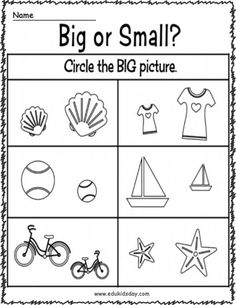 5 Best Kindergarten Worksheets Big or Small and Coloring - Edukidsday.com