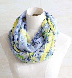 Blue Flower yellow floral scarf soft cotton by blackbeanblackbean, $9.99
