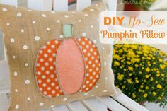 No Sew Pumpkin Pillow