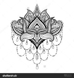 stock-vector-vector-ornamental-lotus-ethnic-zentangled-henna-tattoo-patterned-indian-paisley-for-adult-anti-348301388.jpg (1500×1600)