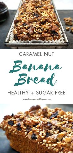 Healthy caramel nut banana bread. A twist on the classic banana bread recipe with a healthy caramel date sauce inside the middle and topped with delicious, crunchy nuts. Sugar free, dairy free and healthy!