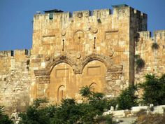 """The Golden Gate in Jerusalem where Jesus went through on Palm Sunday. Ezekiel 44 2: """"This gate shall be shut, it shall not be opened, and no man shall enter in by it; because the LORD, the God of Israel, hath entered in by it, therefore it shall be shut""""."""
