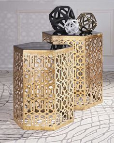 IMAX Nikki Chu Lancaster Gold Mirror Table - Set of 2 - With an airy, open-work pattern befitting the famed Alhambra palace, this pair of iron accent tables with mirrored tops are finished in gold for a timeless look destined to be a classic. – Modish Store