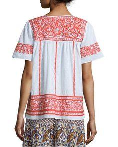 TCBZC Calypso St. Barth Vinduri Short-Sleeve Embroidered Top, Coconut
