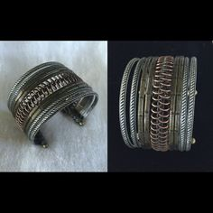 """'Unique' cuff bracelet. Tri-elemental colors. NEW. High quality cuff with antiqued matte gold, silver, and copper plated. 7"""". Brand new in box. Never worn. Premier Designs quality. Compliment with other metal element pieces for a bundle. Premier Designs Jewelry Bracelets"""