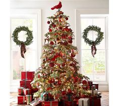 Get in the holiday spirit with Christmas ornaments and Christmas tree decorations from Pottery Barn. Decorate your tree and enjoy the holiday season. Pottery Barn Christmas, Ribbon On Christmas Tree, Farmhouse Christmas Decor, Noel Christmas, Green Christmas, Christmas Tree Toppers, Christmas Lights, Xmas Trees, Celtic Christmas