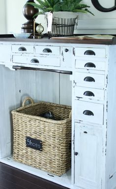 the little cottage on the pond...: Painted Pieces...  The basket with chalk board label