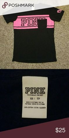 Vs pink campus tee Pink and black Size xsmall EUC  Price firm  Only selling PINK Victoria's Secret Tops