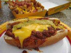 Chilli and cheese hot dog @ Nathan's Hot Dogs, Las Vegas, NV.