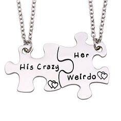 Melix Home His Crazy Her Weirdo Couples Necklaces Set Perfect Gift For Your Boyfriend(CrazyWeirdoNecklaces) Attention please: Melix Home is a registered trademark, and is exclusively distributed by Melix Home. Melix Home trademark is protected by Trademark Law. All rights reserved. Melix Home His His Crazy Her Weirdo Couples Keychains / Couples Necklaces Set, Perfect Gift For Your Boyfriend A great gifts for your loved,family member,daughter,mother,any of the person you lov..