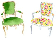 watercolor chairs