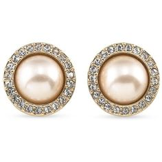 Carolee Light Pink Gold-Tone The Plaza Pink Pearl Button Earrings ($40) ❤ liked on Polyvore featuring jewelry, earrings, light pink, carolee earrings, pearl earrings, rose stud earrings, round earrings and button jewelry