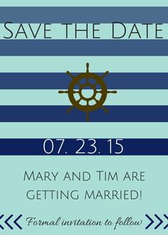 Nautical Save the Date Template by TantalizingTemplates on Etsy